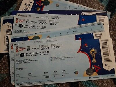Ticket world cup 2018  Unused Portugal Spain Match Game 3 15/06/2018 Sochi