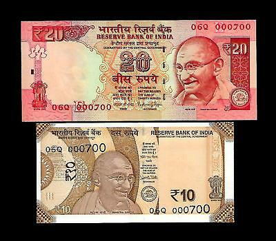 Rs 10/- & 20/- INDIA OLD/NEW PATTERN 000700 GEM UNC Same Number Twin Set! Unique