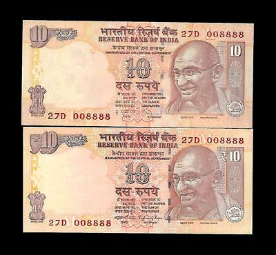 India Banknote Low Serial 27D 008888 (TWIN) SAME NUMBER X 2 GEM UNC
