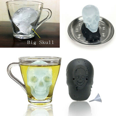 Giant Skull Shape 3D Ice Cube Mold Maker Silicone Tray Bar Party Gift Supplies