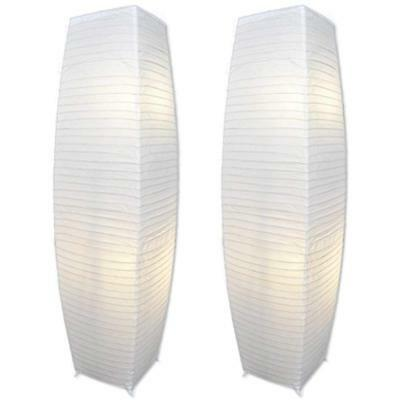 Alumni Chrome Floor Lamp Set With White Paper Shades Set Of 2 Quick Ship