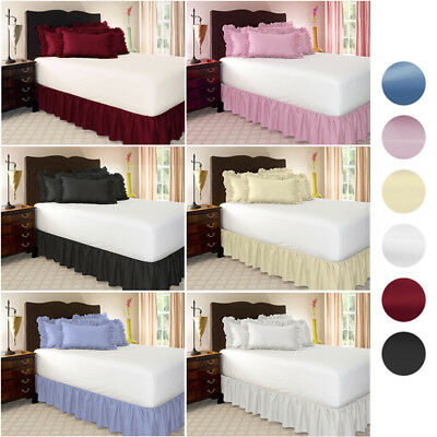 Pure Color Queen/King Brushed Cloth Ruffle Wrap Around Bed Skirts Fitted Sheet