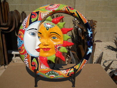 Talavera Eclipse sun moon stars wall plaque Southwest Mexican folk art pottery