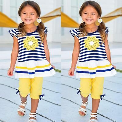 Toddler Kids Baby Girls Outfits Clothes T-shirt Tops Dress+Pants Shorts 2PCS Set