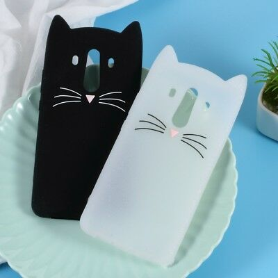Lovely 3D Moustache Cat Silicone Case Cover for Huawei Mate 10 Pro - Black/White