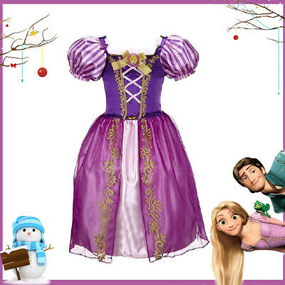 Girls Tangled Rapunzel Fancy Dress Costume Kids Princess Outfit - Christmas Gift