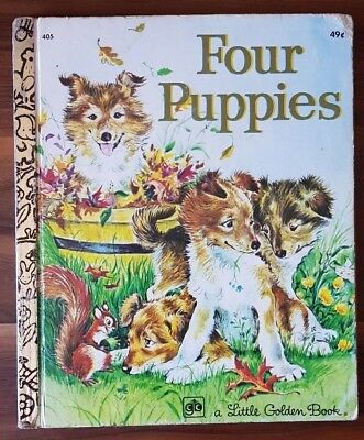 FOUR PUPPIES by Anne Heathers A Little Golden Book(Hardcover, 5th Printing 1974)