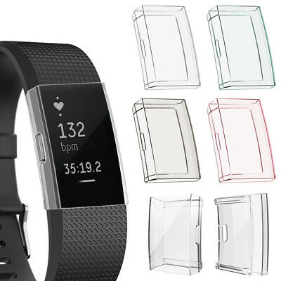 For Fitbit Charge 2 Bracelet Soft TPU Full Cover Clear Case screen protector