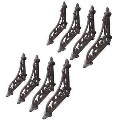 8 Pcs Cast Iron Antique Style Brackets Braces Antique Rustic Shelf Bracket Brown