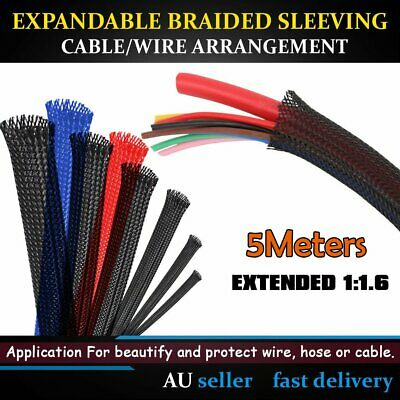 3-Weave PET Expandable Braided Sleeving Wire Sleeve Cable Harness Protection 5M