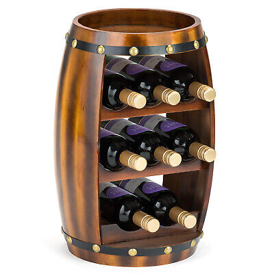 Wooden Barrel Wine Rack Wood Bottle Holder Table Top 8 Bottles Christow H50cm