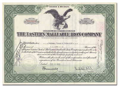 Eastern Malleable Iron Company Stock Certificate