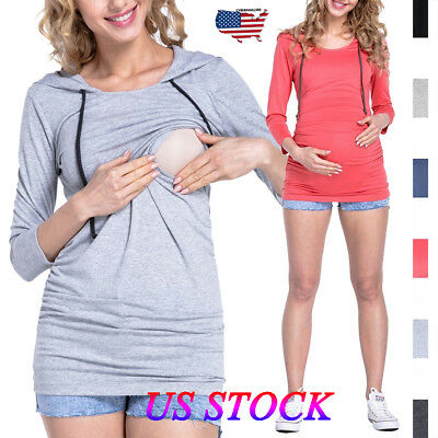 Women Pregnant Maternity Clothes Nursing Tops Breastfeeding T-Shirt Blouse Size