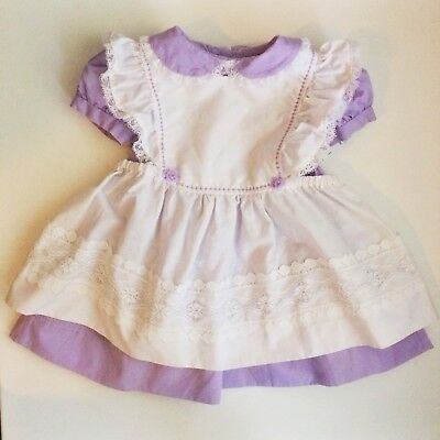 Vintage VTG Purple Dress Pinafore Set Lovely Details