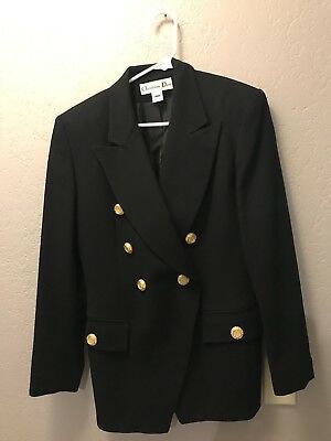 Christian Dior Jacket 6 VTG Black Long Sleeve Double Breasted Blazer Women's
