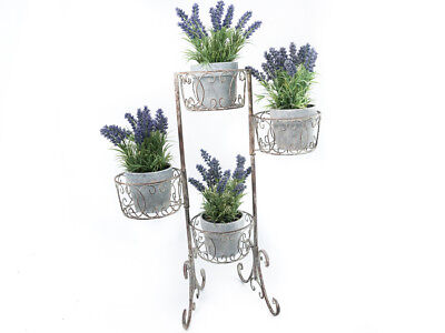 French Country Inspired Wrought Iron Metal Vintage Plant Stand Holds 4 New