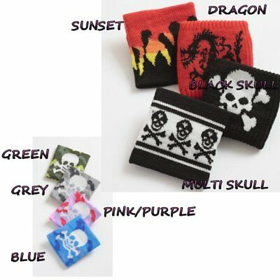 Wrist Sweat Bands Boys Girls Skulls Pirate Bracelet Fabric Bands Gift Idea New