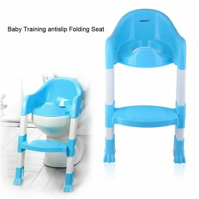 Trainer Toilet Potty Seat Chair Kids Toddler w/ Ladder Step Up Training Stool BE