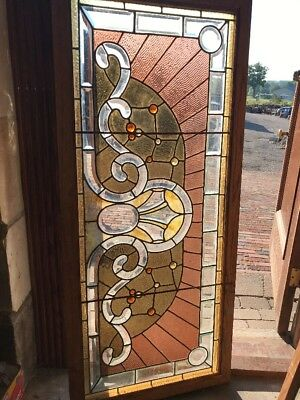 Sg 2352 Antique Stained Jeweled Beveled Glass Transom Window 23.5 X 53.75