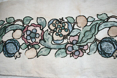 Antique French Textile Timeworn Embroidered Printed Panel.
