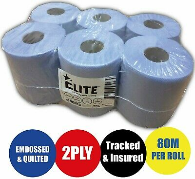 6 x 80m PACK 2 PLY BLUE EMBOSSED CENTRE FEED PAPER WIPE ROLLS