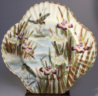 Antique Fine Painted Japanese Meiji Period Kutani Plate With Iris & Birds