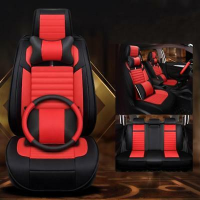 Four seasons universal car seat PU leather Standard Edition 1# red-black