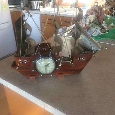 Vintage Nautical Tall Ship Electric Mantle Clock with Ship Wheel Model 811