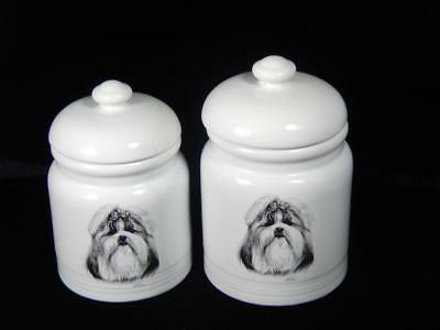 Rosalinde Porcelain  Lhasa Apso  Treat Jars, Set of 2, GC, Local free Shpg