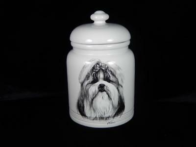 "Rosalinde Porcelain  Lhasa Apso  Treat Jar, 10 1/2"", Cookies, Local Free Shpg"