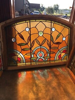 Sg 2360 Antique Stained And Jeweled Arch Window 27.75 X 40