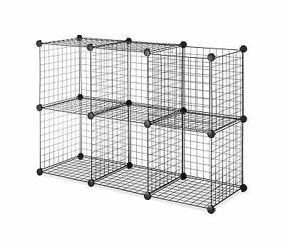 Whitmor Storage Cubes   Stackable Interlocking Wire Shelves   Black (Set Of  6)