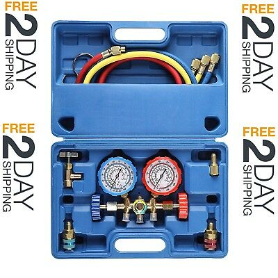 3 Way AC Diagnostic Manifold Gauge Set for Freon Charging, Fits R134A R12 R22