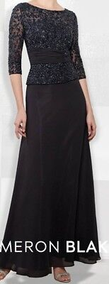 Cameron Blake by Mon Cheri, Mother of the Bride Dress, Hand Beaded Navy, Sz 14