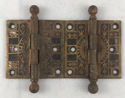 """Pair Eastlake Victorian CI Antique Loose Pin Butt Hinges 3""""x3"""""""