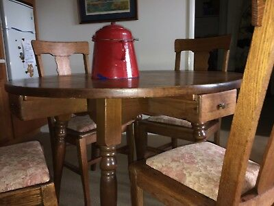 antique oak dining table with drawers