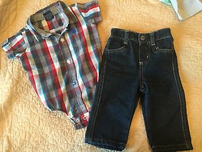 US Polo baby blue red short sleeve dress checkered Shirt jeans pants 6-9 Months