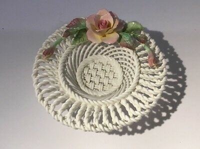 Great Crown Staffordshire Porcelain Woven Basket with Porcelain Rose Decoration