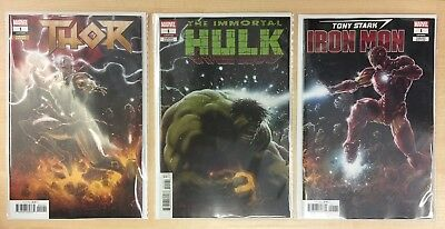 Immortal Hulk #1 - Thor #1 - Iron Man #1 - Connecting cover set - New