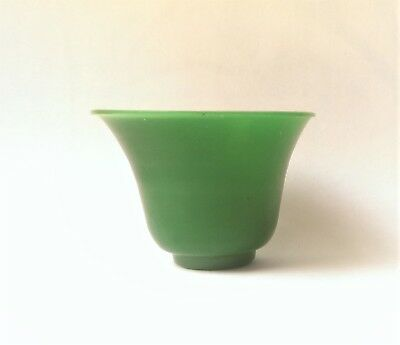 Antique Peking Green Glass Wine Cup Imitating Imperial Jade Late Qing Dynasty