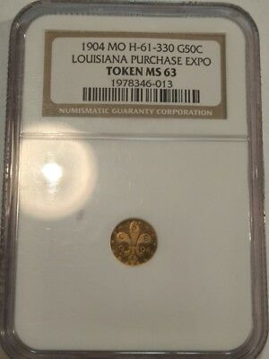 1904 MO H-61-330 Louisiana Purchase Expo GOLD 50c Token NGC MS63