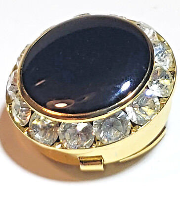 Button Cover 12 Crystal & Black Onyx Formal look Gold Tone Mens Button Cover Lot