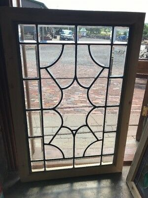 SG 2369 antique all beveled glass landing window 27.5 x 40.25