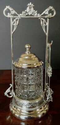 Antique Crystal & Silver Albany Co.Quad-Plated Pickle Jar, Lid w-Tongs 1880 Nice