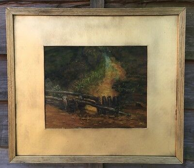 Large Oil Painting On Board In Gold Gilt Frame, Signed