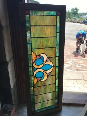 SG 2350 antique Stainglass transom window 16.25 x 45.75