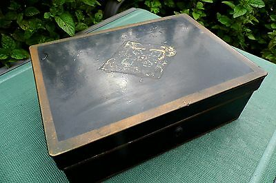 TOLEWARE Travelling Jewellery sewing Box  c1880 antique RARE Victorian Ladies