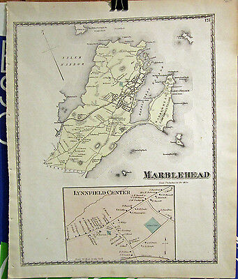 1872 D.G. Beers Map Marblehead Massachusetts  From Essex County Atlas