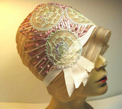Antique 1920's Salmon Pink Horsehair Clouche Women's Hat Pastel Lace & Ribbon