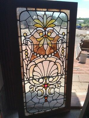2352Antique collector grade Stainglass landing window 20 to 3/8 x 44.5